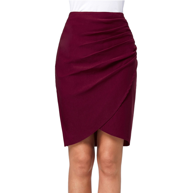 631661f0e Saia Women Skirts 2017 Elegant Vintage Pleated Frill Ruched High Waist Pencil  Skirt Casual Business Office Party Sheath Skirts