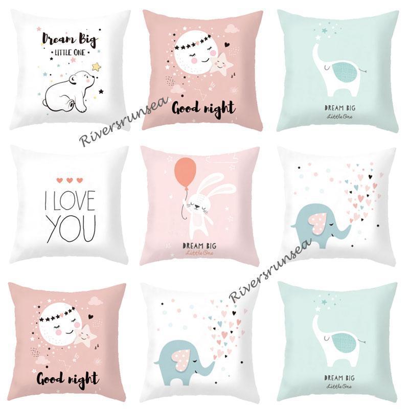 Cute Lovely Bear Cushion Cartoon Animal Rabbit Elephant Love English Letter Decorative Throw Pillows For Home Kids Bedroom Decor