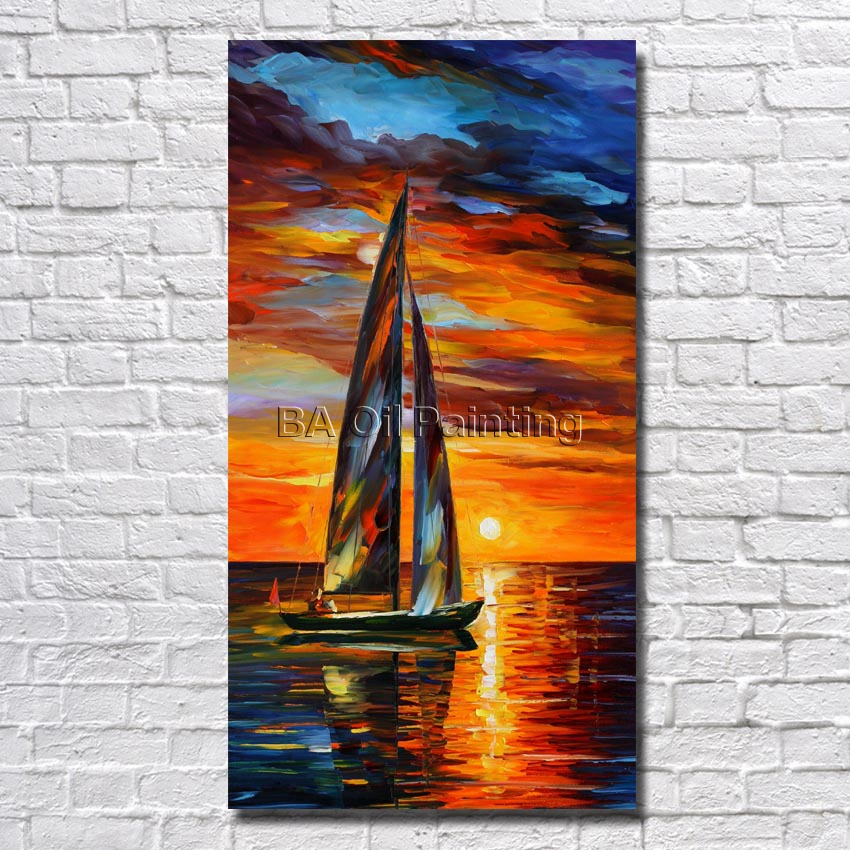 Picture Handpainted Modern Art Beautiful <font><b>Boat</b></font> Landscape Palette <font><b>Knife</b></font> Oil Painting on Canvas Art Home Decoration No Framed image