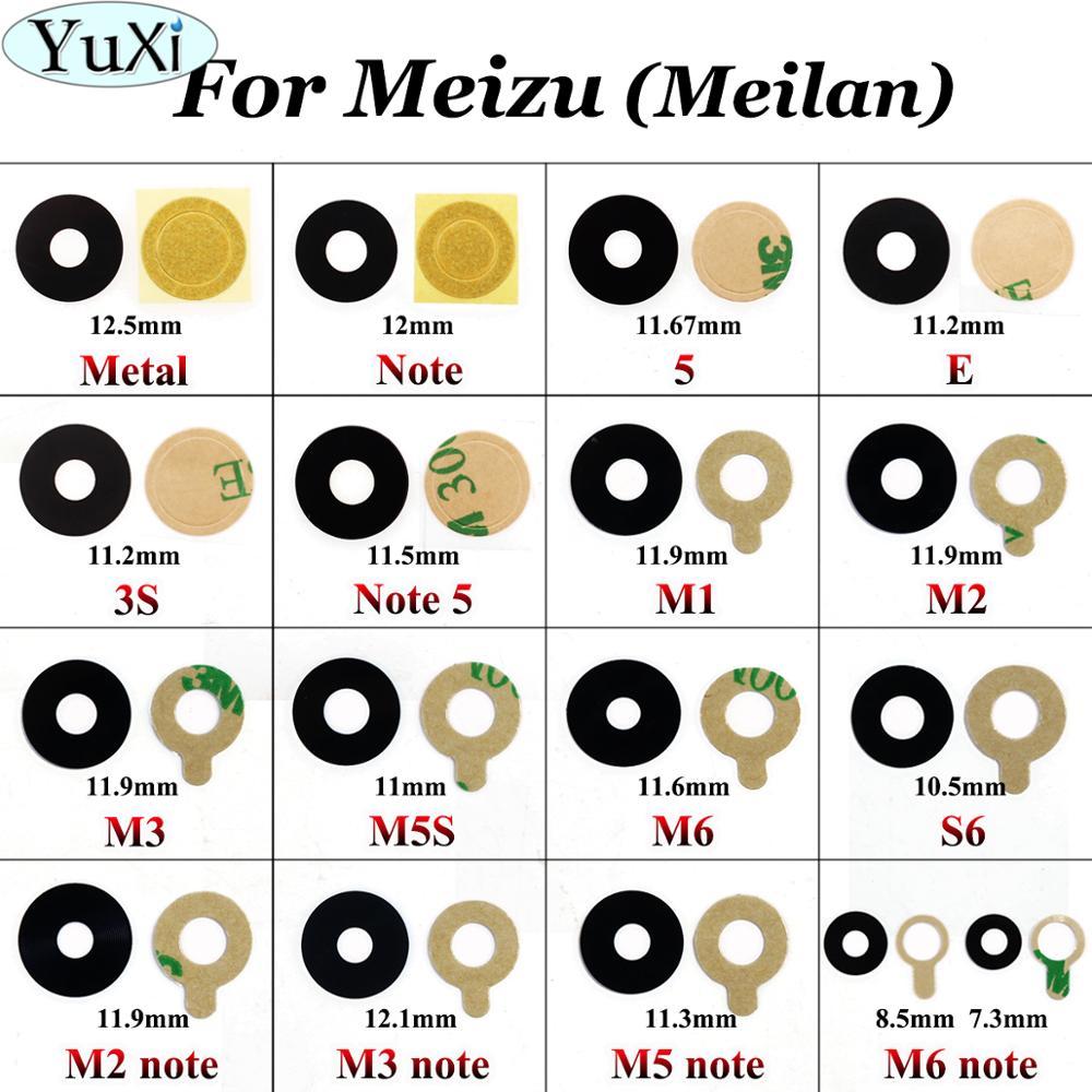 YuXi Rear Back Camera Glass Lens Cover+Adhesive Tape For Meizu Meilan M1 M2 M3 M5 M6 Note 3s M5s S6 Note 5 Mini Metal E