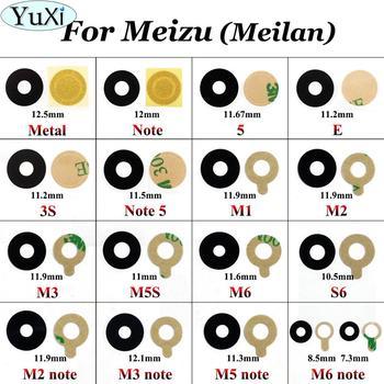 YuXi-cubierta de lente de cristal para cámara trasera + cinta adhesiva para Meizu Meilan M1 M2 M3 M5 M6 note 3s M5s S6 Note 5 Mini Metal E