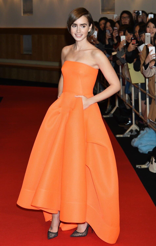 Оранжевый цвет без Бретелек Высокий/низкий стиль Длина до пола с рюшами, вечернее платье для свадебной вечеринки на заказ