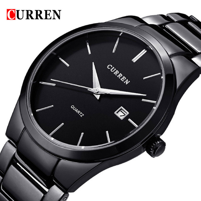 Top Luxury Brand CURREN Full Stainless Steel Analog Display Date Men's Quartz Watch Business Watch Men Watch Relogio Masculino skmei luxury brand stainless steel strap analog display date moon phase men s quartz watch casual watch waterproof men watches