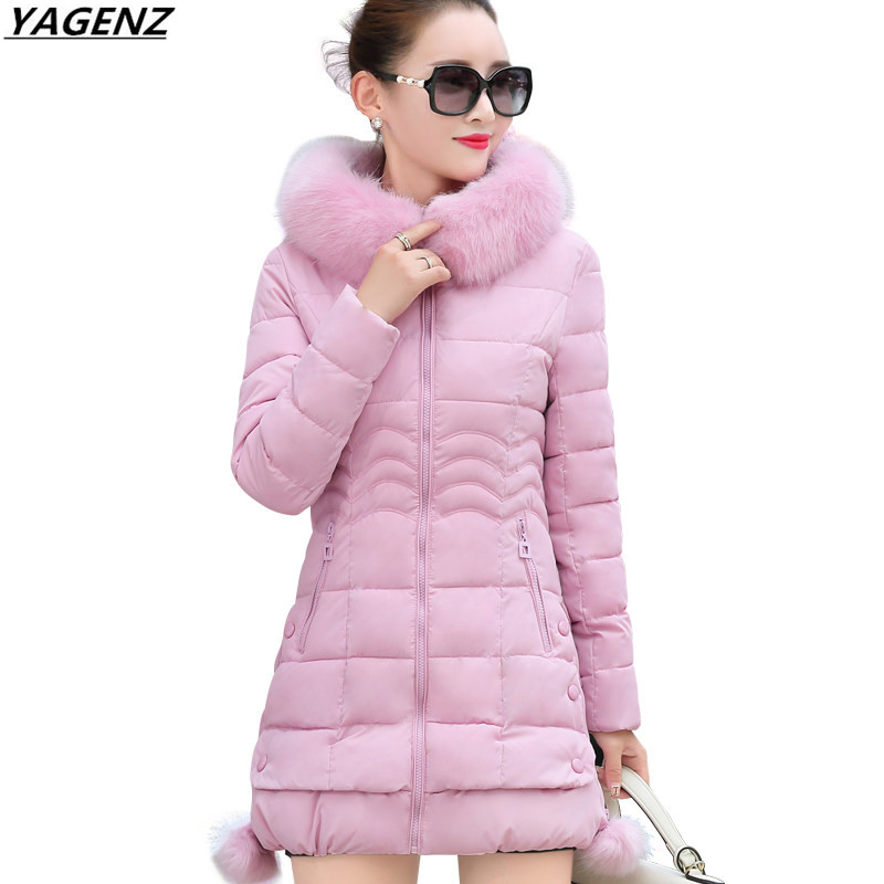 2017 New Winter Jackets Womens Coat Thick Warm Hooded Fur Collar Down Cotton Padded   Parkas   Women Overcoat Plus Size YAGENZ K441