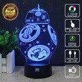 Lâmpada Nova Lâmpada BB-8 3D de Star Wars Millennium Falcon LED novelty luzes da noite usb luz brilhante hui yuan presente das crianças marca
