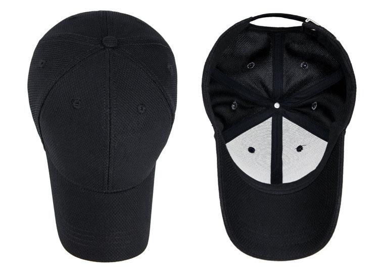 Solid Cord Colors Adjustable Baseball Cap - Black Cap Overhead and Inside Views