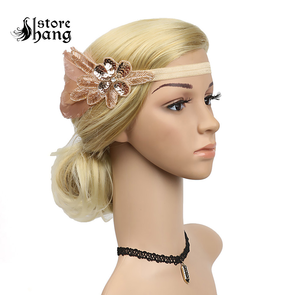 Us 11 89 30 Off Vintage 1920s Flapper Headband Elegant Roaring 20s Great Gatsby Headpiece With Feather Downton Abbey Art Deco Hair Accessories In
