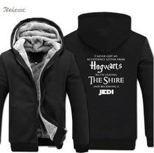 Hogwarts Star Wars Jedi Creative Funny Hoodies Coat 2018 Winter Warm Fleece Thick Sweatshirt Men Novelty Mens Jacket Clothes