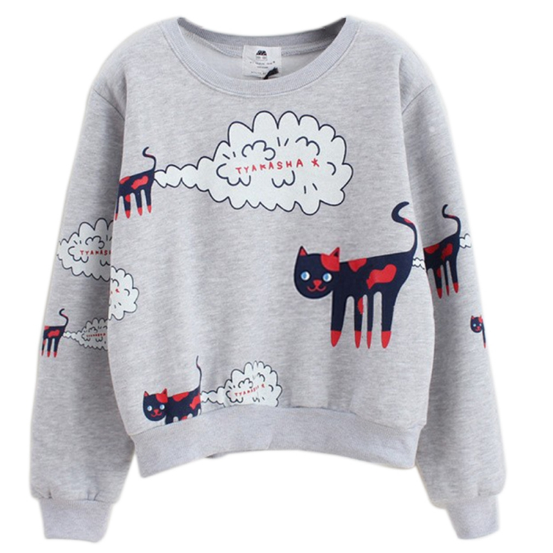 2017 Autumn Cartoon Cat Pullover Hoodies Long Sleeve O-neck Elastico Sweatshirt Kawaii Fashionable Women Hoodies W1