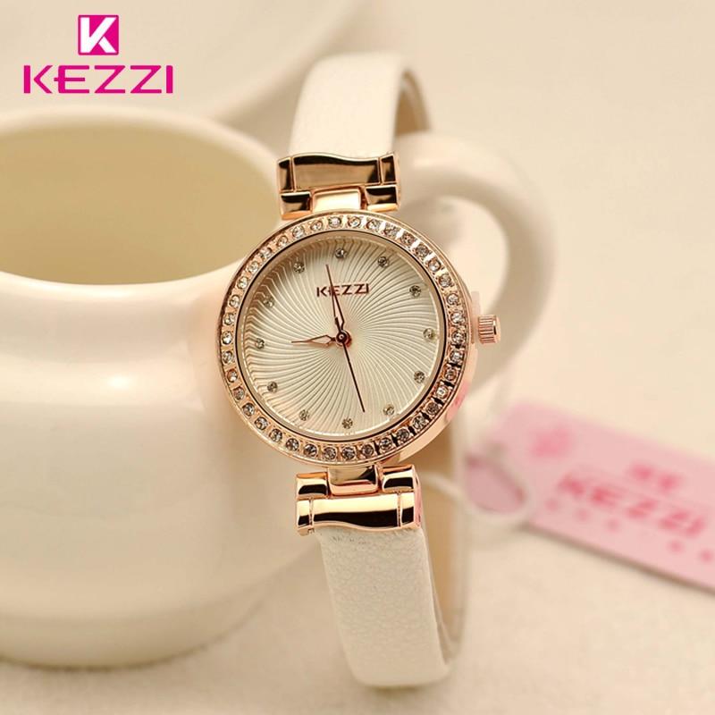 Brand KEZZI  Ladies Watches Women Crystal White Watch Thin Simple Leather Quartz Wristwatches Wholesale