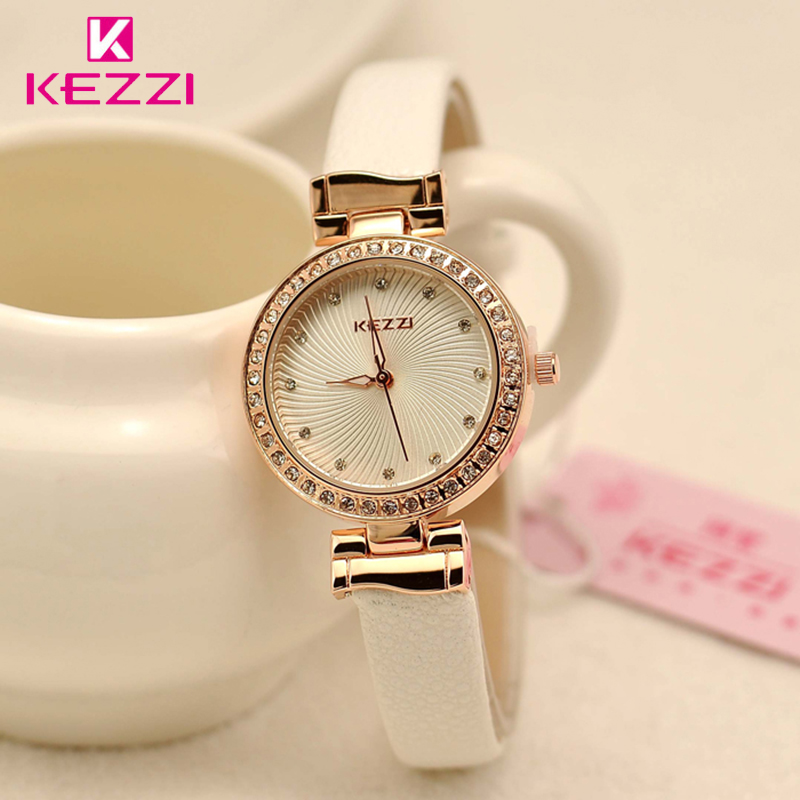 Brand KEZZI  Ladies Watches Women Crystal White Watch Thin Simple Leather Quartz Wristwatches Wholesale
