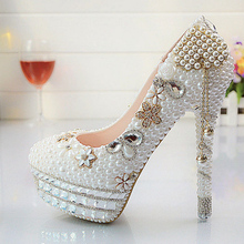 Custom Tassel White Pealrs Women Wedding Shoes Platform Party Pumps Bling Bridal Shoes NO3