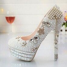 Custom Tassel White Pealrs Women Wedding Shoes Platform Party Pumps Bling Bridal Shoes NO3