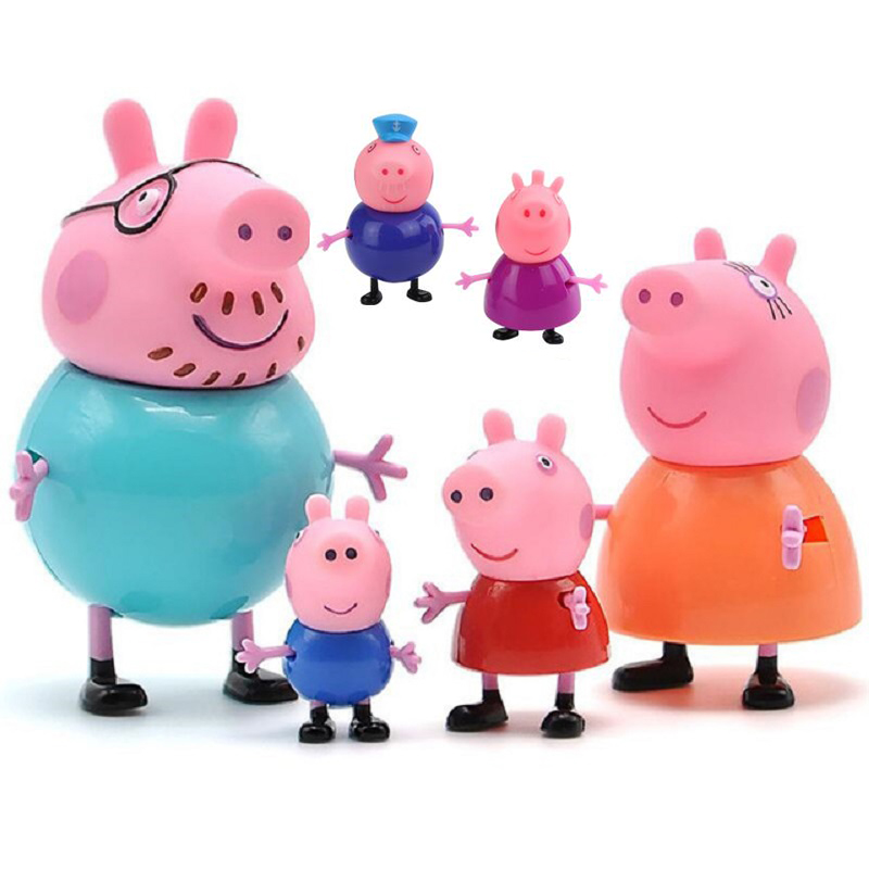 6pcs Original Peppa Pig George Family Pack Anime Figure Dad Mom Pink Pig Action Figure Pelucia Anime Toys For Children 5P