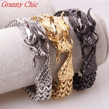 Granny Chic Cool Titanium stainless steel jewelry Casting Classic fashion Men's Dragon Clasp Silver Gold Black Biker Bracelet