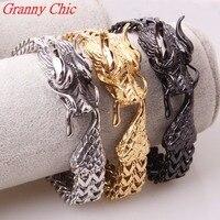 Granny Chic Cool Titanium stainless steel jewelry Casting Classic fashion Men's Dragon Clasp Silver Gold Black Biker Bracelet