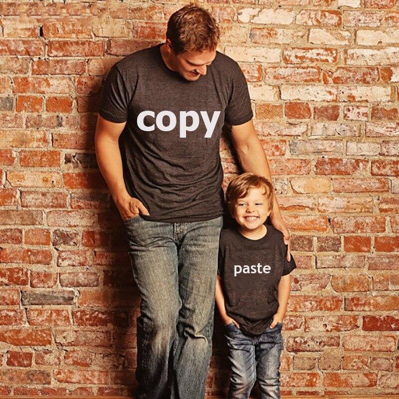 Gourde poupée nouvelle famille correspondant vêtements papa bébé lettre MINI ME t shirt famille look CTRL + C CTRL + V manches courtes hauts 3