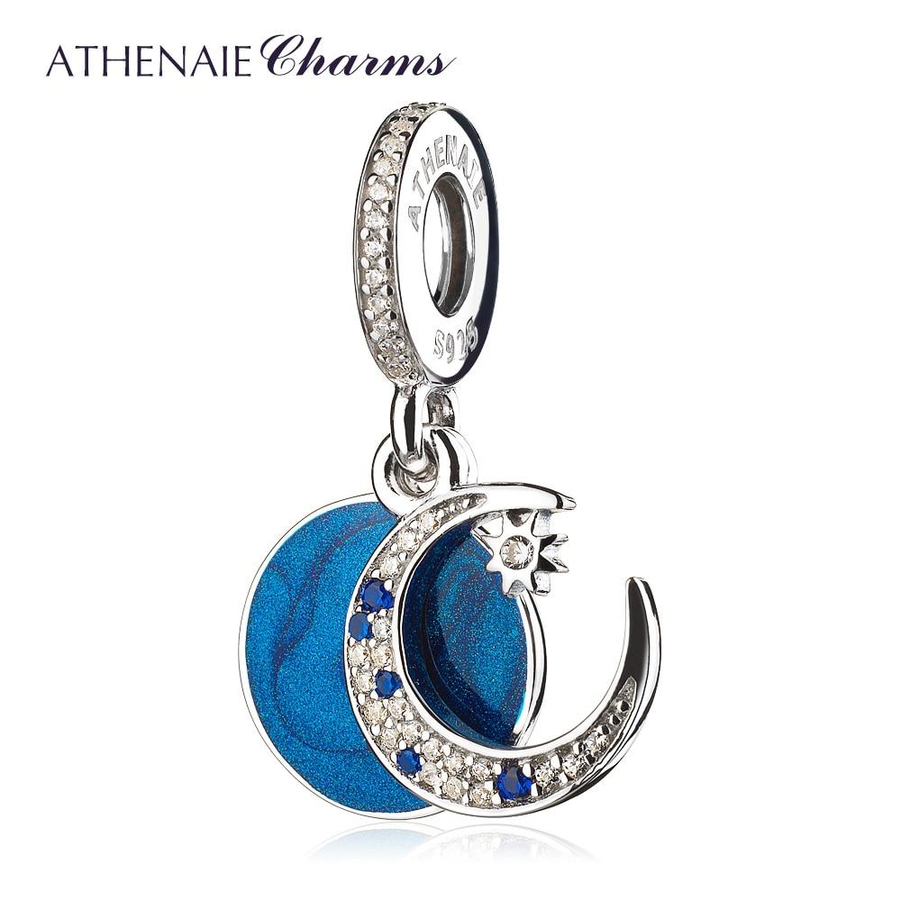 ATHENAIE 925 Sterling Silver Shimmering Midnight Blue Enamel & Clear CZ Vintage Night Sky Dangle Charm Beads Fit Bracelet