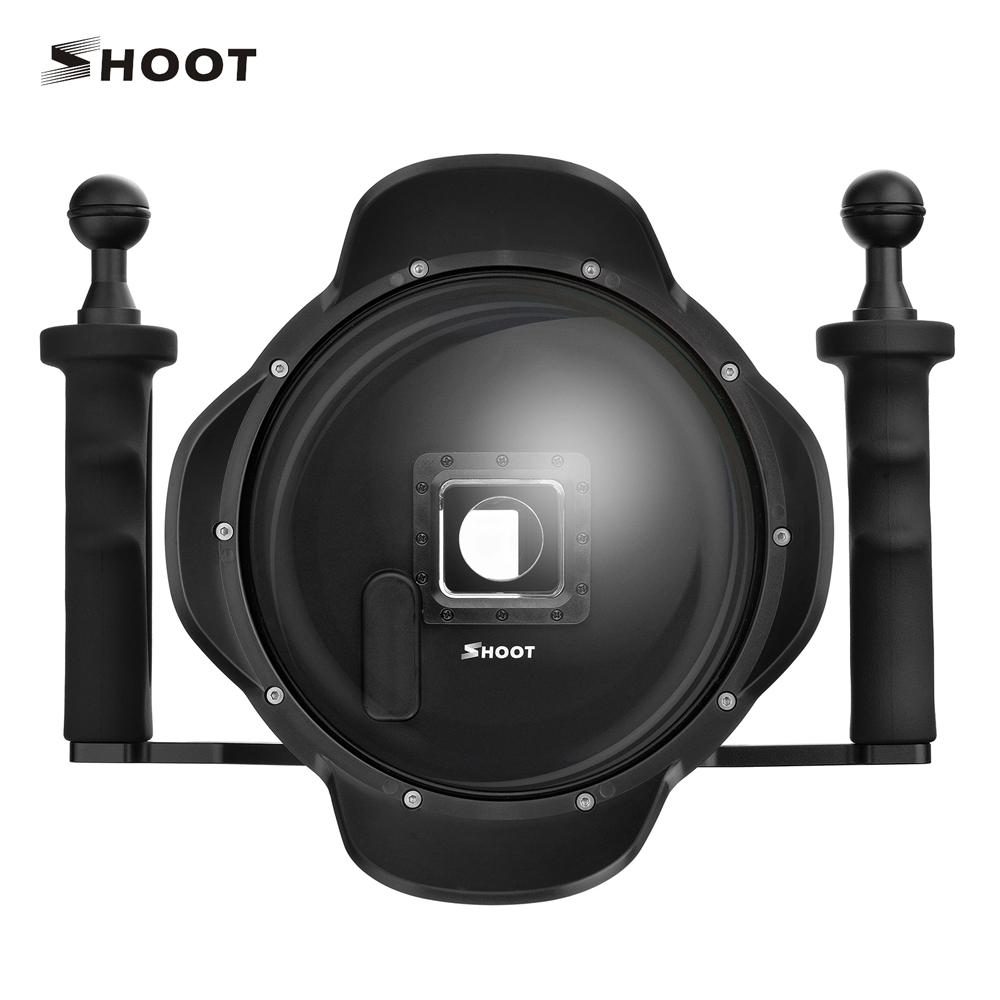 SHOOT 6 inch LCD Underwater Dome Port Lens for GoPro Hero 4 3+ Camera With Go Pro Waterproof LCD Case and Handheld Stabilizer 6 inch diving lens hood dome port for gopro hero 3 4 with go pro heightening waterproof housing case lcd screen suit