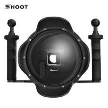 Стрелять 6 дюймов ЖК-дисплей подводный купол Порты и разъёмы объектива для GoPro Hero 4 3 + Камера с Go Pro Водонепроницаемый ЖК-дисплей Чехол и Ручной Стабилизатор