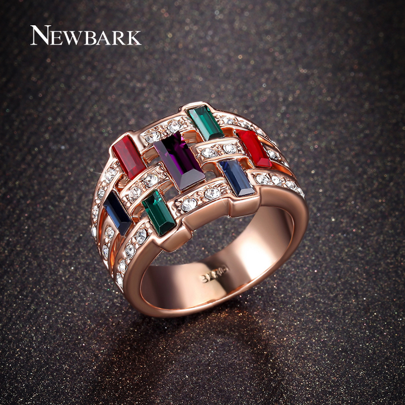 NEWBARK Antique Bohemian Ring Fashion Colorful Multi-Color Rings For Women Vintage Charm Pretty Female Anniversary Jewelry