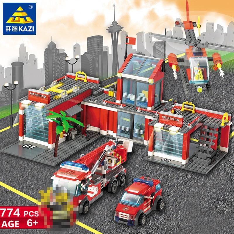 Image 2 - 774Pcs City Fire Station Fireman Truck Car Bricks LegoINGLs Building Blocks Sets DIY Playmobil Toys For Children Christmas Gifts-in Blocks from Toys & Hobbies