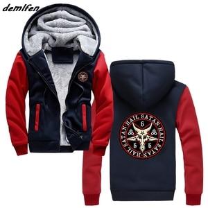 Image 2 - Hail Satan 666 Baphomet Pentagram Devil Wicca Black Magic Print Hoodie Men Thick Zipper Sweatshirt Hip Hop Jacket Tops