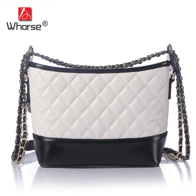 [WHORSE] Famous Brand Handbags High Quality Genuine Leather Women Diamond Lattice Shoulder Messenger Bag Chain Ladies Bags W1827 3 5mm wireless car bluetooth audio receiver with stereo output