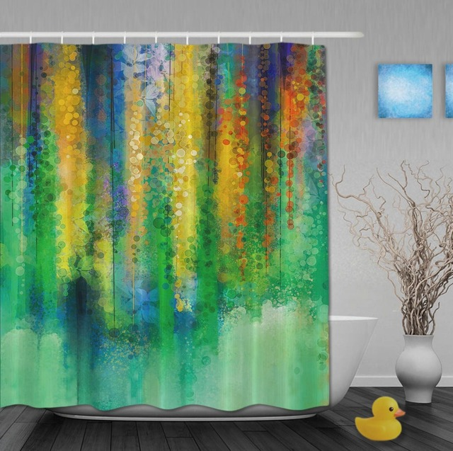 Custom Watercolor Drawing Violet Waterfall In The Spring Shower Curtains Waterproof Fabric With Hooks Bathroom