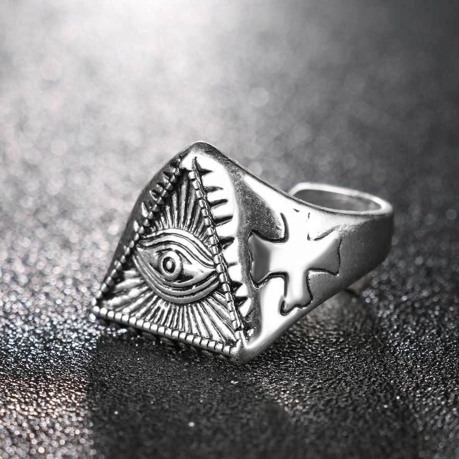 Винтажное ювелирное изделие, оптовая продажа, уникальное мужское кольцо с злобными глазами, цветные серебряные кольца для женщин, подарок на Хэллоуин