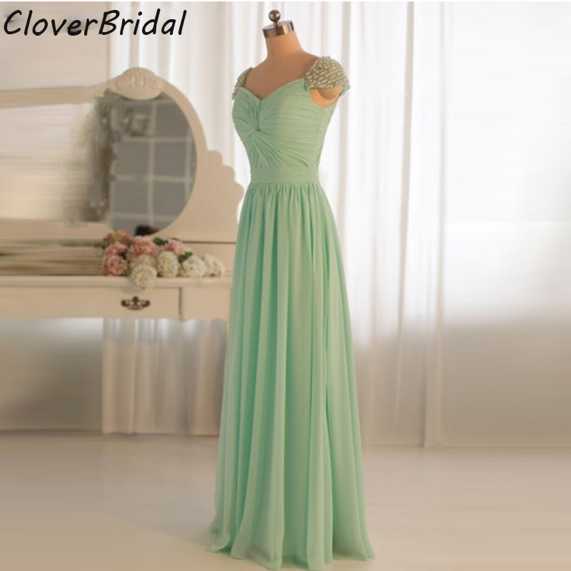 Real photos free customize cap sleeves pearls mint green bridesmaid dresses long 2016 criss-cross pleated bust