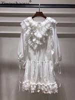 Ziwwshaoyu/праздничные платья с вышивкой, шелковое хлопковое пляжное платье с цветочным принтом и оборками, новое женское платье на весну и лето