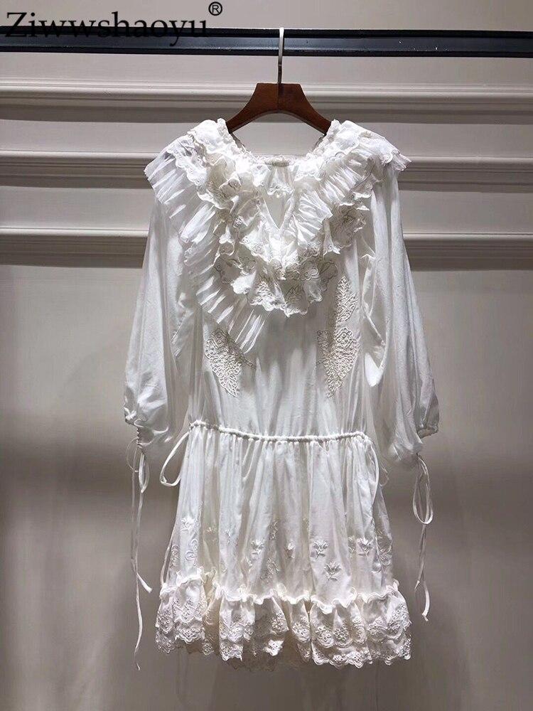 Ziwwshaoyu vacances broderie robes soie cottonv-cou Floral volants robe de plage printemps et été nouvelles femmes