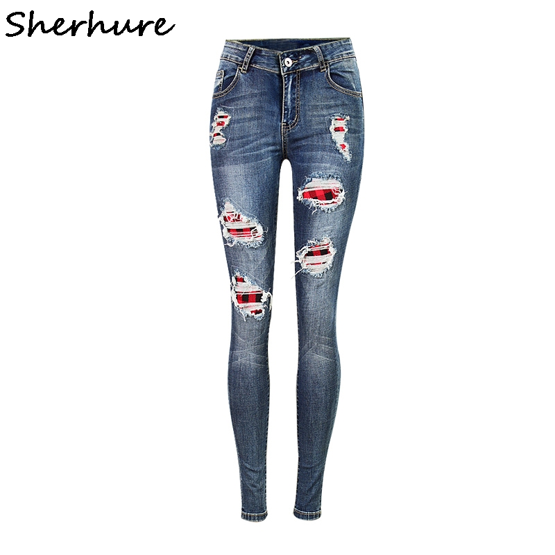 Sherhure 2017 Red Plaid Patchwork American Apparel Women Skinny Jeans Mid  Waist Ripped Women Jeans Denim - Popular Womens Red Skinny Jeans-Buy Cheap Womens Red Skinny Jeans