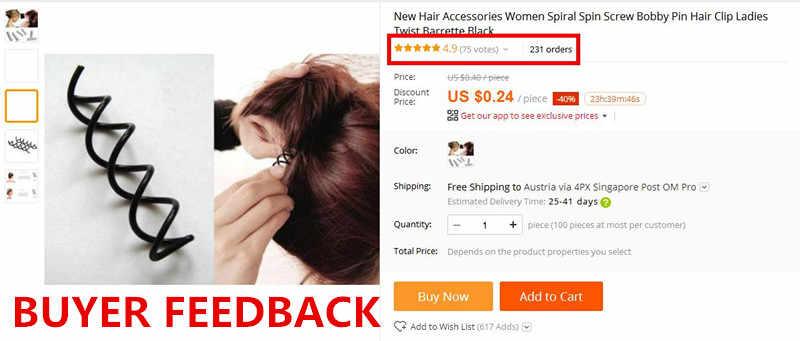 Baru Aksesoris Rambut Wanita Spiral Berputar Sekrup Bobby Pin Rambut Klip Wanita Twist Jepit Hitam