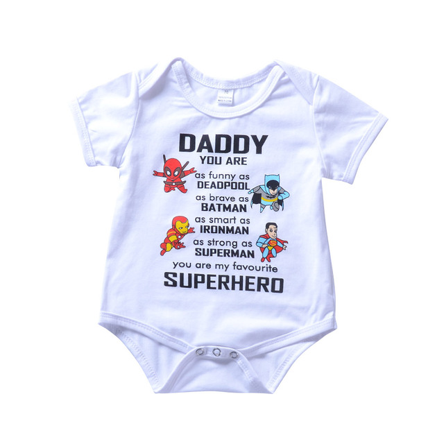 9bf8ce65b Cute Infant Baby Kleding Daddy My Super Hero Letter Cartoon Print ...