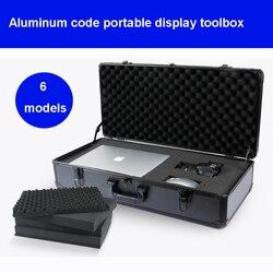 Caja de Herramientas de aluminio maleta Caja de Herramientas caja de archivos resistente a impactos equipo de cámara caja de exhibición de productos con espuma precortada