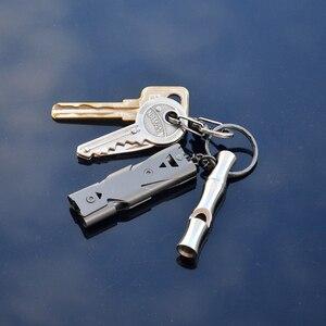 Высокое качество, необходимое кольцо для ключей, двойная труба, высокое децибел, нержавеющая сталь, Открытый аварийный брелок для выживания Черлидинга