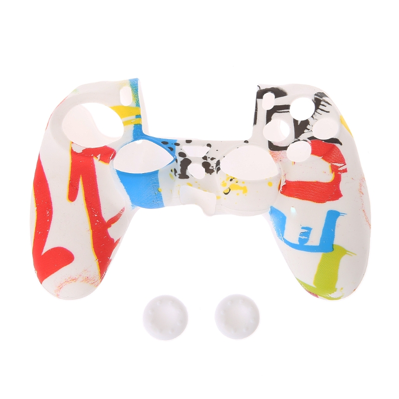Multicolor Style Silicone Gamepad Cover Case + 2 Joystick Cap For PS4 Controller
