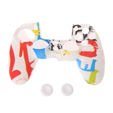 Multicolor Style Silicone Gamepad Cover Case + 2 Joystick Cap For PS4 Controller цены