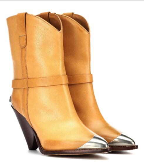 invierno Punta Otoño Señoras Nuevas Vestido Los Estrecha Mujer Mujeres 2018 Tacones Slip Llegadas Metal Botines amarillo Blanco Zapatos Sestito en nq8wt1Efv8