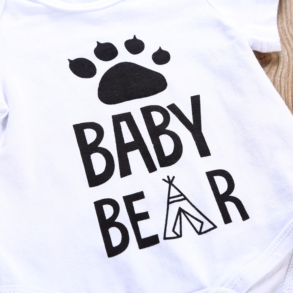 2018 NEW Newborn Baby boy clothes Cotton Short sleeves Baby Bear Printed 2pcs Set Bodysuit+Pants Infant clothes Outfit