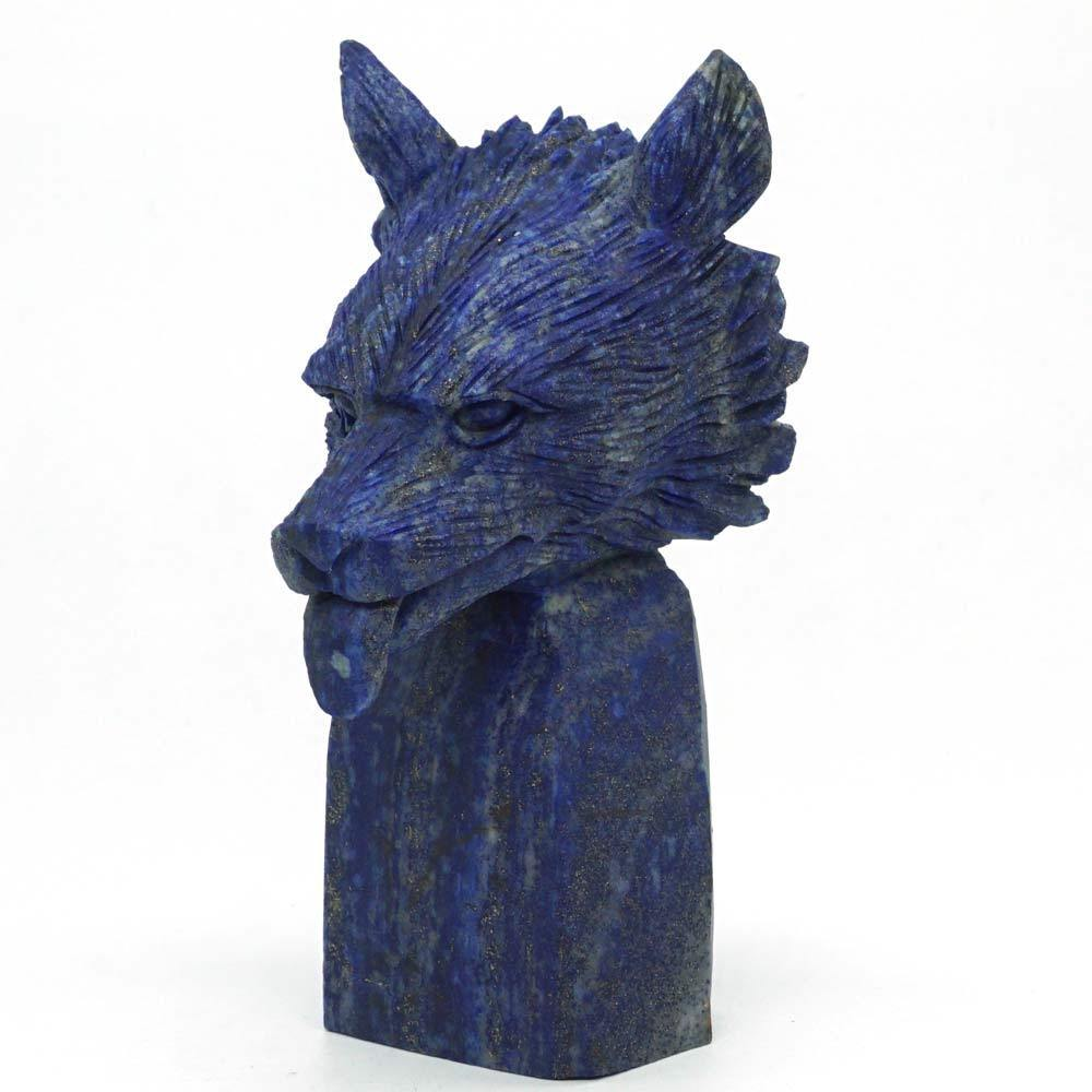 Wolf Head Bust Natural Gemstone Lapis Statue Crystal Healing Reiki Home Decor