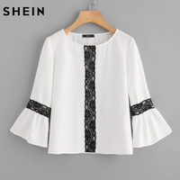 SHEIN Contrast Lace Applique Flare Sleeve Elegant Top Women 2017 Fall Fashion White Long Sleeve Casual