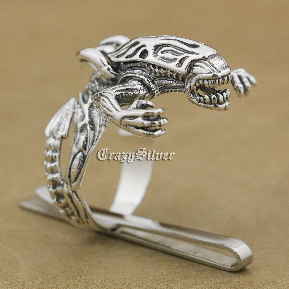 925 Sterling Silver AVP Alien Monster Mens Biker Punk Ring 9T004 US Size 8 ~ 14 alien cams a00054 френд 3 8