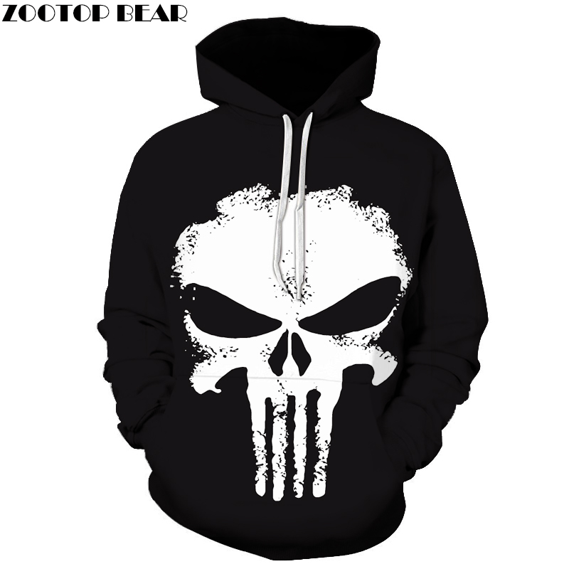 2017 Punisher Hoodies Men 3D Sweatshirts Superhero Pullover Novelty Tracksuit Hooded Streetwear Autumn Casual Jacket Couple Tops
