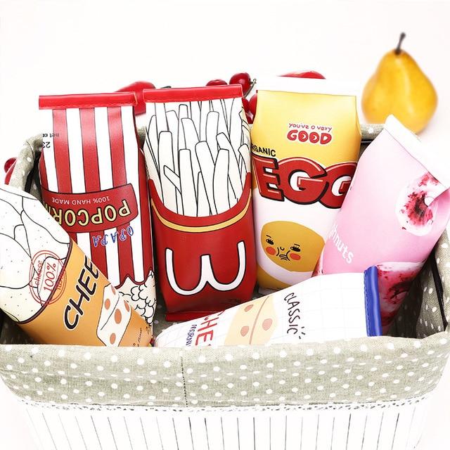 Kawaii картофель фри пеналы для девочек из искусственной кожи фруктов закуски Карандаш сумка Канцелярские Чехол офис школы питания zakka estojo