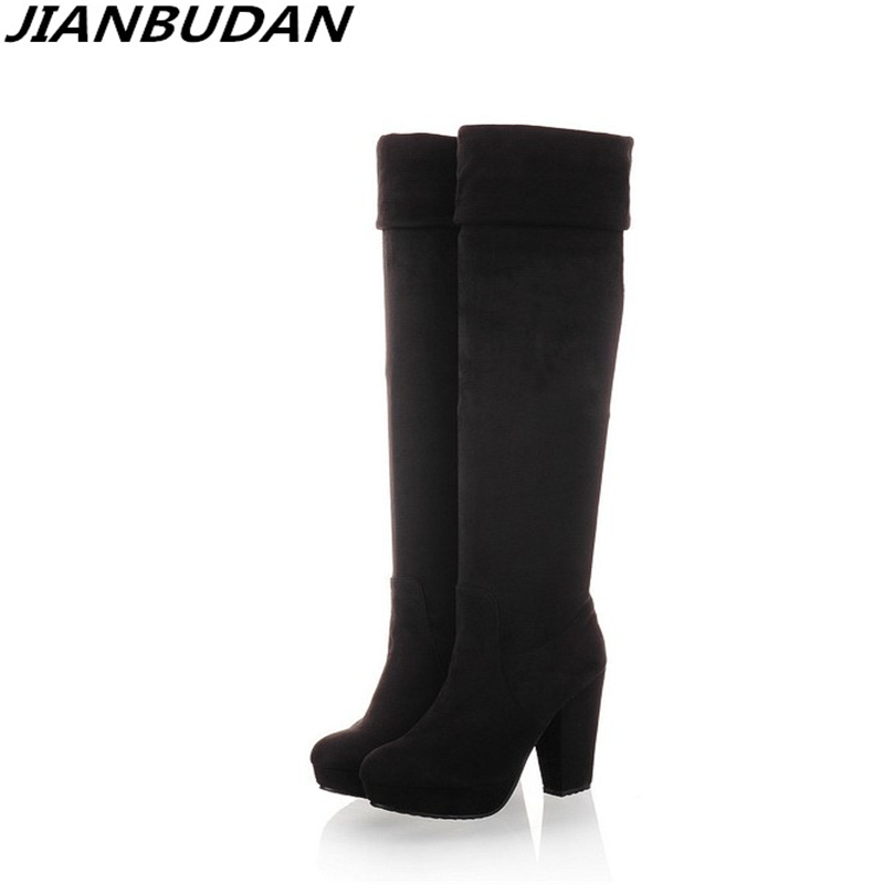 JIANBUDAN Brand design high-quality sexy women winter boots 2017 new knee over the knee elastic suede thigh high boots 35-43 2017 winter new arrivals cheap price high quality black suede leather gold studded over the knee boots women boots size 35 42