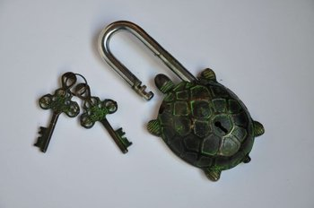 Rare old key in the lock two bronze turtle model key bronze Free shipping