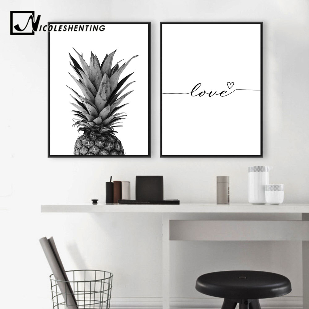 NICOLESHENTING Pineapple Wall Art Canvas Posters Prints Nordic Love Quote Paintings Black White Wall Picture for NICOLESHENTING Pineapple Wall Art Canvas Posters Prints Nordic Love Quote Paintings Black White Wall Picture for Living Room
